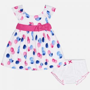 pink and blue spot dress